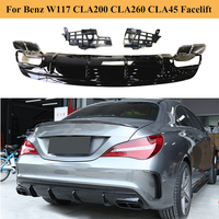 Carbon Fiber/ Gloss Black Car Rear Bumper Diffuser for Mercedes Benz W117 CLA200 CLA260 CLA45 Facelift Amg Package 2016 2019