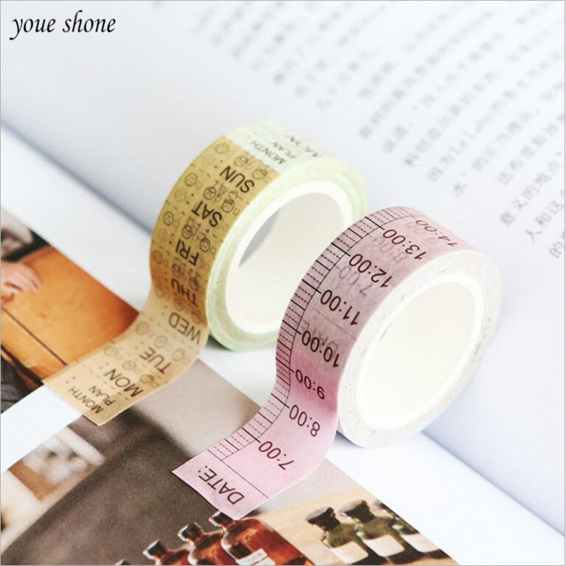 1Pcs Kawaii 1 5cm 7m Washi Tape Timeline Week Plan DIY Office Label Sticker Stationery Decoration Scrapbooking Planner Masking in Office Adhesive Tape from Office School Supplies
