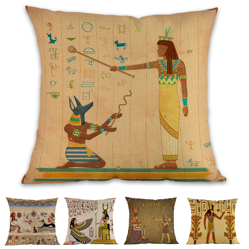 Ancient Egypt Culture Hieroglyphics Pharaoh Sphinx Pyramid Mummies Pillow Case Home History lovers Sofa Decoration Cushion Cover