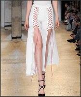 Видеть оранжевый 2018 сезон: весна–лето Белый разрез широкую ногу женские Брюки для девочек модные Кружево до Нижние штаны обтягивающие джин