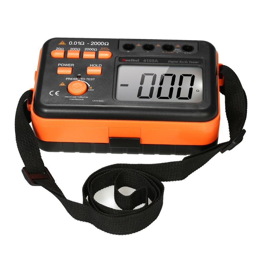 Testeur de résistance à la terre numérique 2000ohm 200 V voltmètre testeur de condensateur ohmmètre avec affichage rétroéclairé LCD
