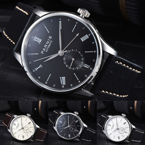 Luxury Brand 42mm Parnis Black Brown White 0ff- White dial stainless steel Case Complete Calendar Automatic movement Men's Watch relojes full stainless steel men s sprot watch black and white face vx42 movement