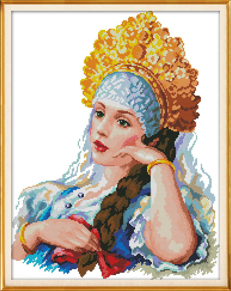 Golden Crown Princess cross stitch kit aida 14ct 11ct count print canvas  stitches stitching  needlework embroidery DIY handmade