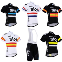 2 Pieces Sets Cycling Clothing Sky Cycling Jersey Short Sleeve Quick Dry Game Dress Team Sky Cycling Set Triathlon Bike Clothing