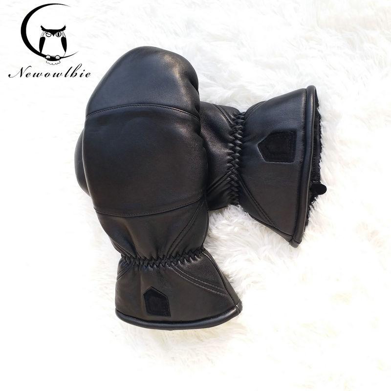 Women Leather Gloves Sheepskin Boxing Gloves Bending Outdoor Thicken Warm Winter Gloves Double Warm Sport Gloves Oversized Size