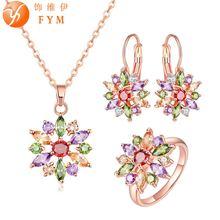 Fym свадебные комплекты ювелирных изделий цвета розового золота