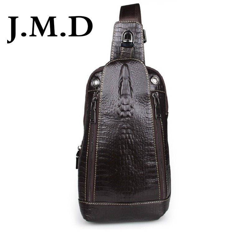 J.M.D 100% Genuine Leather Alligator Pattern Vintage Funny Pack For Men Chest Bag Pack Shoulder Messenger Bag Handbag 7300 new 2016 genuine leather crocodile alligator pattern men vintage messenger bag waist pack men s bags chest pack waist bag 3864