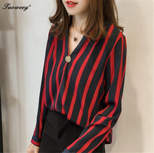 2018 spring Tops Women's Chiffon Blouse Female Striped Shirts Fashion Deep V-neck Long Sleeve shirts Women Blusas Plus Size