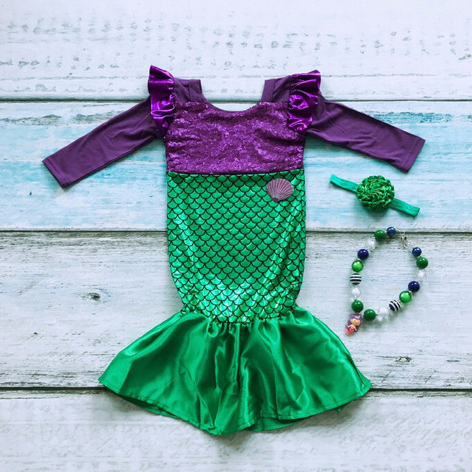 Child Little Mermaid Trumpet Sequins Fancy Dress Costume Kid Girls Party Cosplay child performance wear female child white princess dress cosplay costume fancy dress party