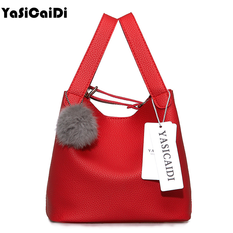 Top-Handle Women Bags Fashion Women's Pu Leather Handbags Black Women Bag Tassel Fur Bag Ball High Quality Small Bucket Bags Sac