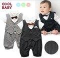 2015 смешно детская одежда мальчик ползунки одежды лето джентльмен жилет в полоску с коротким рукавом младенцы sleepsuits ползунки новорожденных