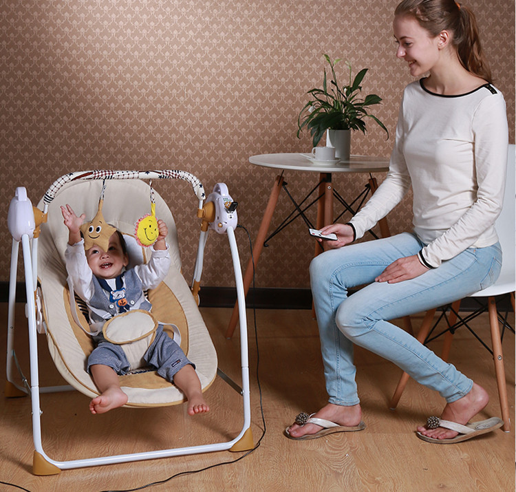 New Arrivals Electric Metal Baby Bouncer Swing Rocking Chair Safe Portable Newborn Baby Sleeping Basket fashion baby bouncers swings foldable portable electric baby rocking chair with music safe baby sleeping basket