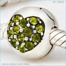 Adapta Europea Pandora Charm Bracelet Rhinestone de La Cz Cristal Del Amor Del Corazón 925 Plata Esterlina Lock Clip Tapón de Cuentas