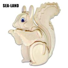 3D Wood Puzzles Creative DIY Laser Cutting 3D Squirrel Mechanical Model Wooden Puzzle Assembly Education Toys Gifts For Children turtle ship puzzle toy 3d metal assembling model furnishings creative gifts diy education toys