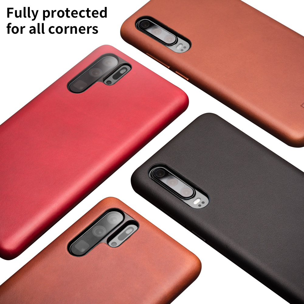 Image 2 - QIALINO Fashion Genuine Leather Ultra Slim Phone Case for Huawei P30 Pro 6.47 inch Luxury Handmade Back Cover for Huawei P30-in Half-wrapped Cases from Cellphones & Telecommunications