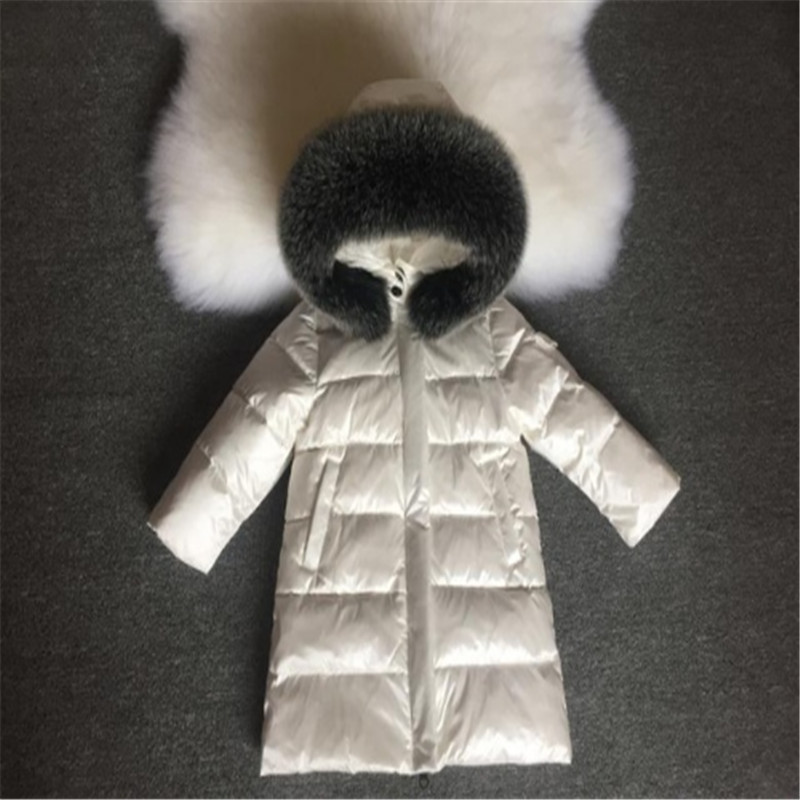 81 153CM Girls Winter Coats for Boys Child NEW 2018 Fashion Down Jackets Outerwear Waterproof Medium long Thick Real Fur Hooded