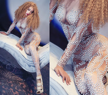 Sexy Pearls Stones Spandex Jumpsuit Birthday Party Leggings Outfit Female Singer Dancer Bodysuit Costume Nightclub Wear