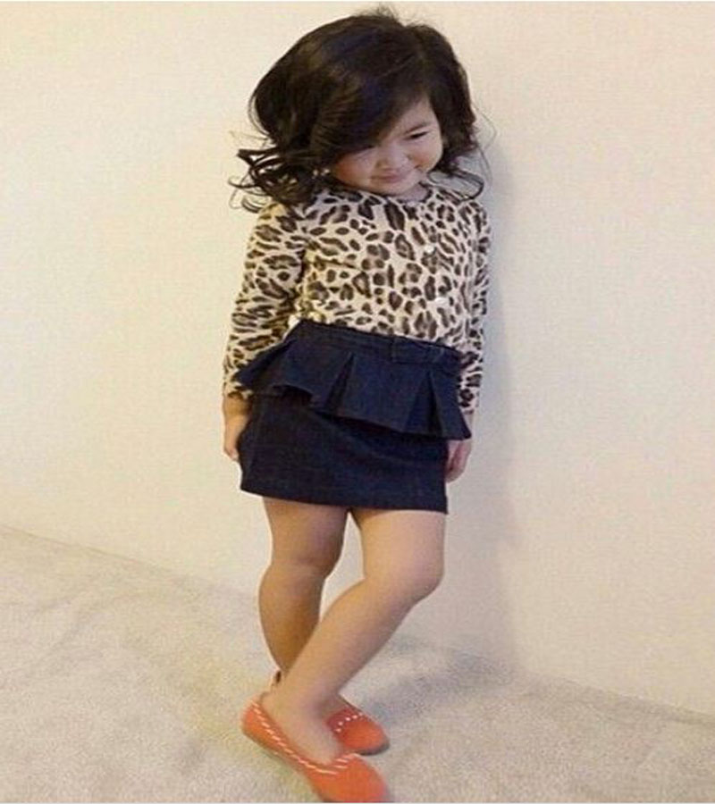 2015 summer autumn fashion Children girl Long sleeve leopard print tops+denim short skirt clothing set kids clothes DY123A family fashion summer tops 2015 clothers short sleeve t shirt stripe navy style shirt clothes for mother dad and children