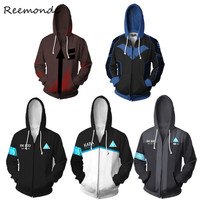 Anime Angels of Death Isaac Foster Cosplay Costumes 3D Printed Zipper Hoodies Detroit Become Human Connor Sweatshirts Jackets