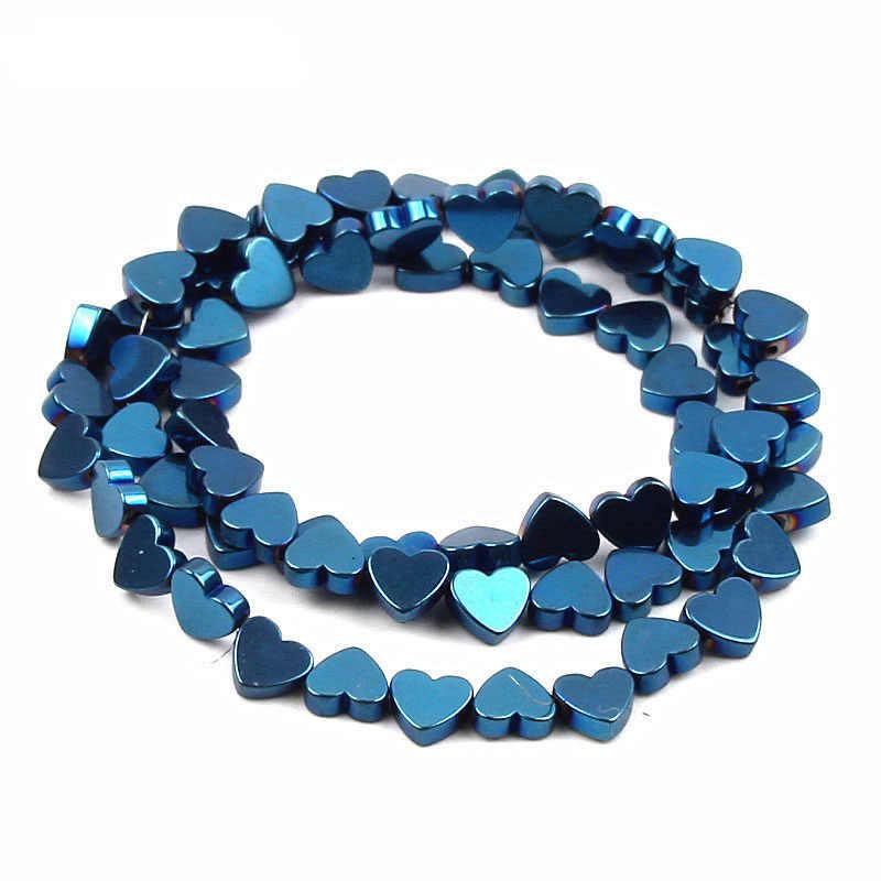 ขายส่ง 65 ชิ้น/ล็อต 6 มม.หินสีดำธรรมชาติลูกปัด Hematite ลูกปัดหัวใจลูกปัดสำหรับเครื่องประดับ DIY สร้อยข้อมือ