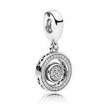 925 Sterling Silver DIY Jewelry Spinning Signature Dangle Charm fit Lady Bracelet Bangle Lady Gift Crystal Clear CZ(China)