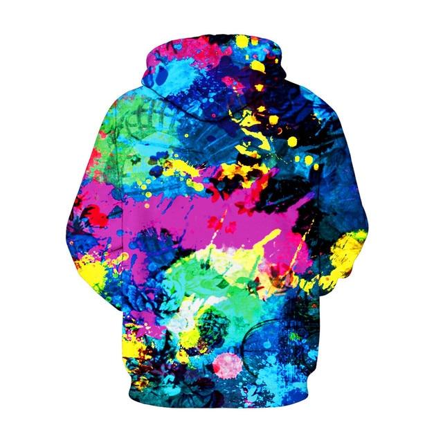 2019 fashion hip hop men/women's pullovers 3D digital print dazzling colorful graffiti hooded longsleeve loose polyester hoodies