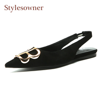 Stylesowner black suede pointed toe slingback shoes women flats back strap sandals metal decoration comfortable lady dress shoes