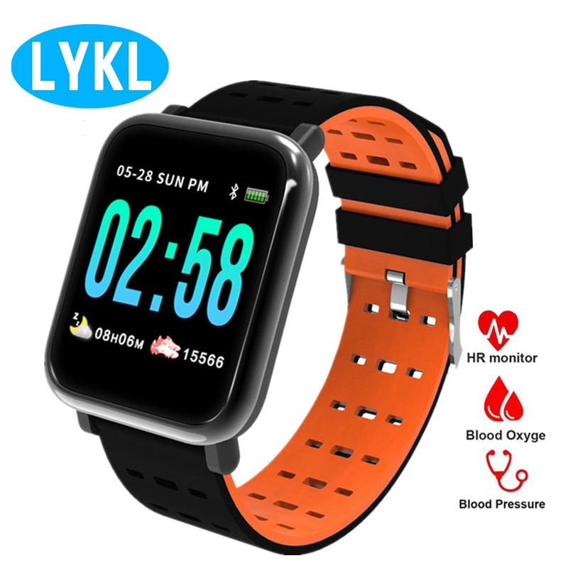 a0f7852d91b4 LYKL A6 inteligente reloj de pulsera actividad Fitness pulsera corazón  Monitor de presión arterial ...