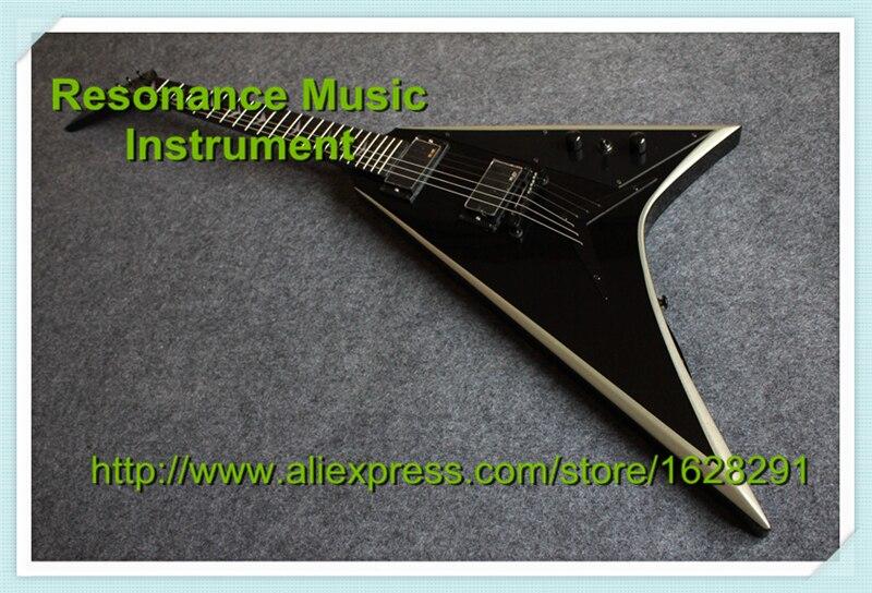 Лидер продаж черные Гитары Средства ухода за кожей с серебряной края Джексон Flying V Гитары Электрический левша Пользовательские доступны