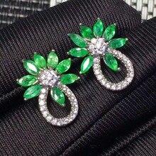 Created Emerald Earrings Stud Set Genuine 925 Sterling Silver Luxury Engagement Wedding