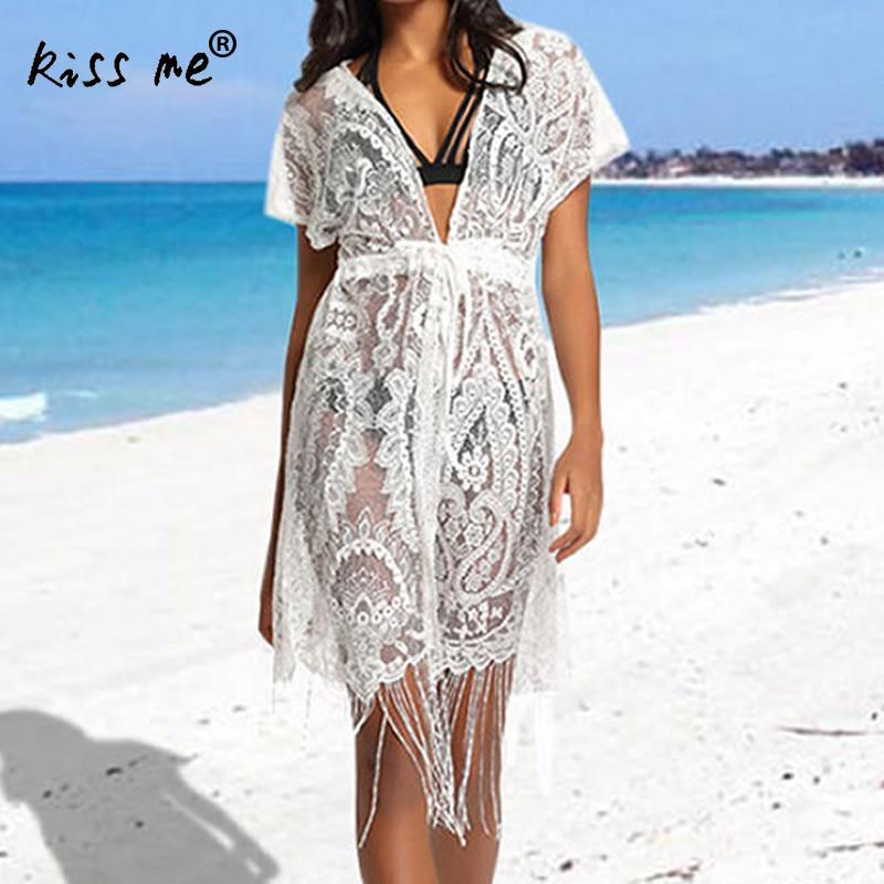 6973ad4c85880 Drawstring Lace Female Cardigan White Beach Cover Up Women's Tunic  Transparent Beachwear Cover-Ups Summer