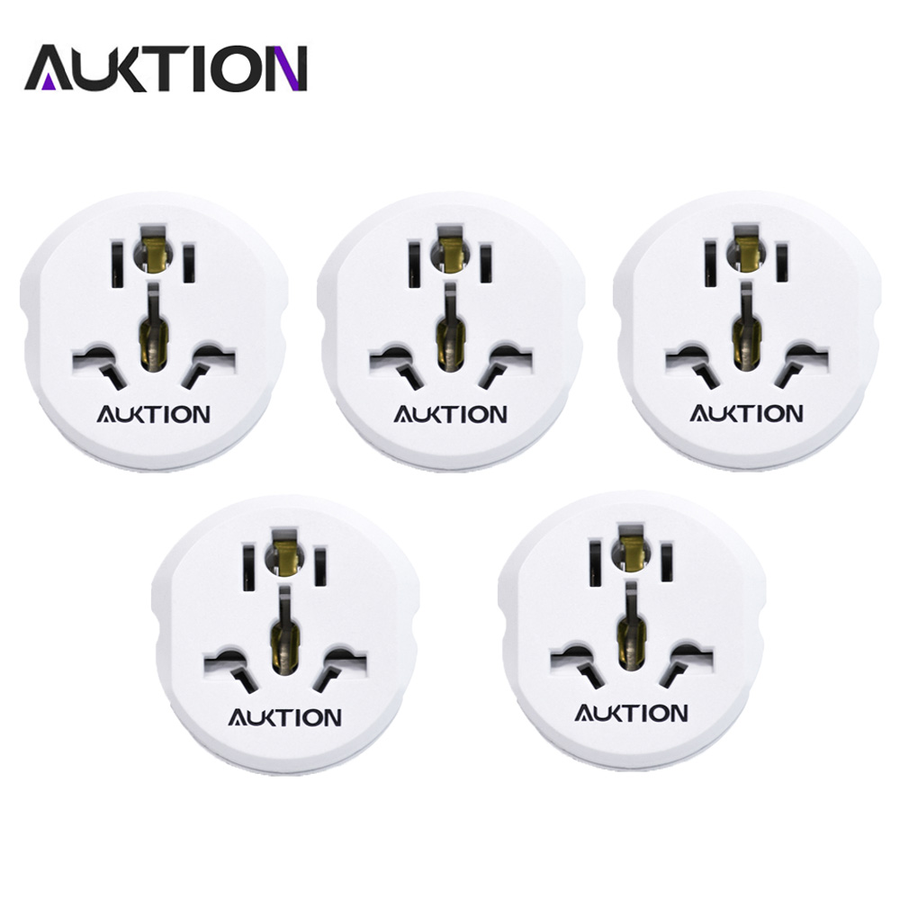 AUKTION 5Pcs/Lot Universal EU Plug Adapter 16A Electrical Plug Accessories Power Socket Converter AC 250V for Home Office Travel