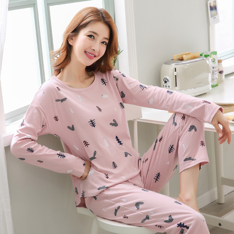 2019 Women Pajamas Sets Autumn Winter New Women Pyjamas Cotton Clothing Long Tops Set Female Pyjamas Sets NightSuit Mother Sleep 97