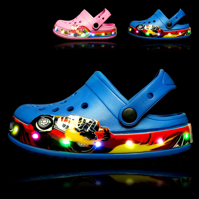 e0e99a2eb60233 2018 New Cool Car Children LED Sandals Girls Pink Kid Lighting Garden Shoe  Boys Blue Beach Sandals Summer Mules And Clogs