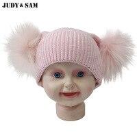 Newborn Baby Cotton Hat For Spring Double Detachable Fur Pompoms Hat Raccoon Fur Balls Cap Toddler