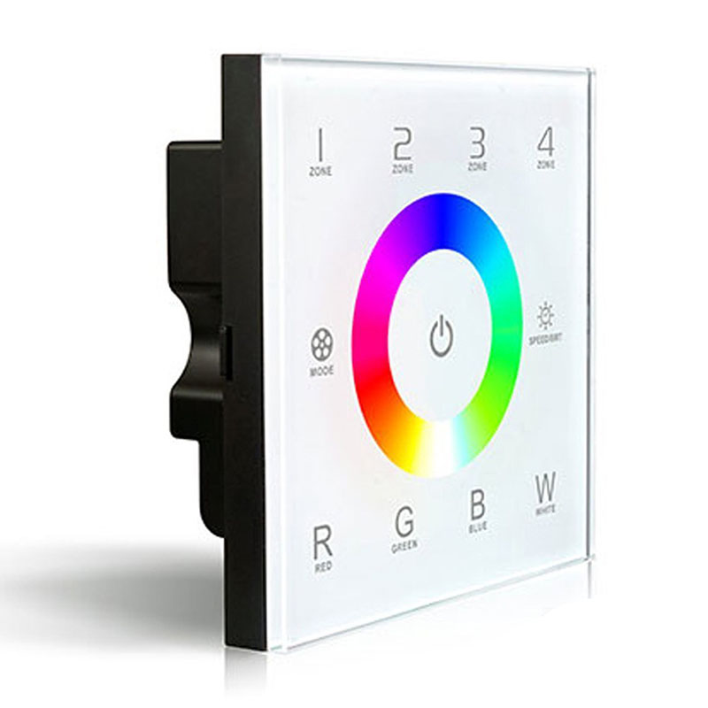 BIFI-Wall Mount DC12-24V Touch Panel Full Color Controller for RGBW DMX LED Strip Lighting 16A 192W 384W dmx512 digital display 24ch dmx address controller dc5v 24v each ch max 3a 8 groups rgb controller