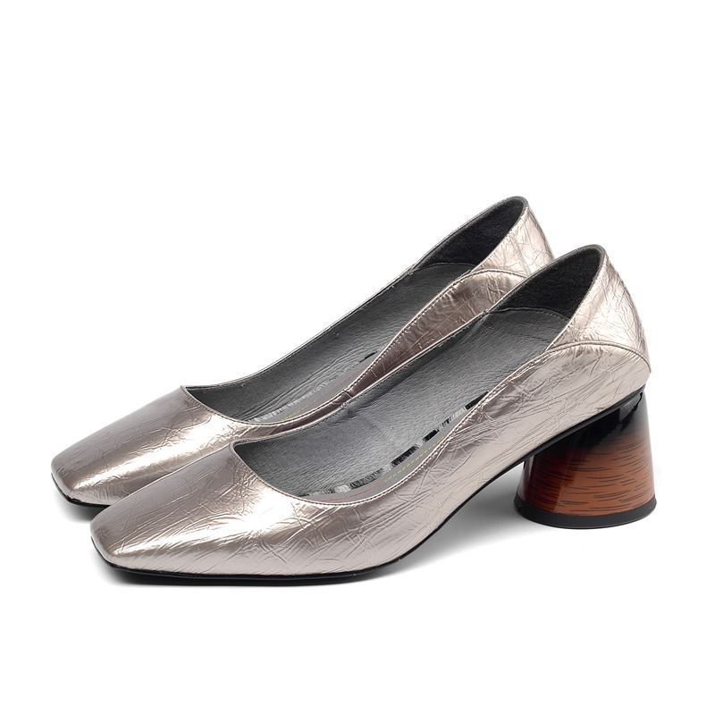 Image 3 - ALLBITEFO/Высококачественная женская обувь из натуральной кожи на каблуке; Весенняя модная пикантная женская обувь на высоком каблуке с квадратным носком; обувь на высоком каблуке-in Женские туфли from Обувь