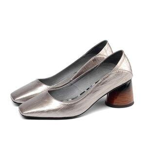 Image 3 - ALLBITEFO באיכות גבוהה מלא אמיתי עור נשים נעלי עקבים כיכר טו אביב אופנה סקסי נשים גבוהה עקב נעליים גבוהה עקבים