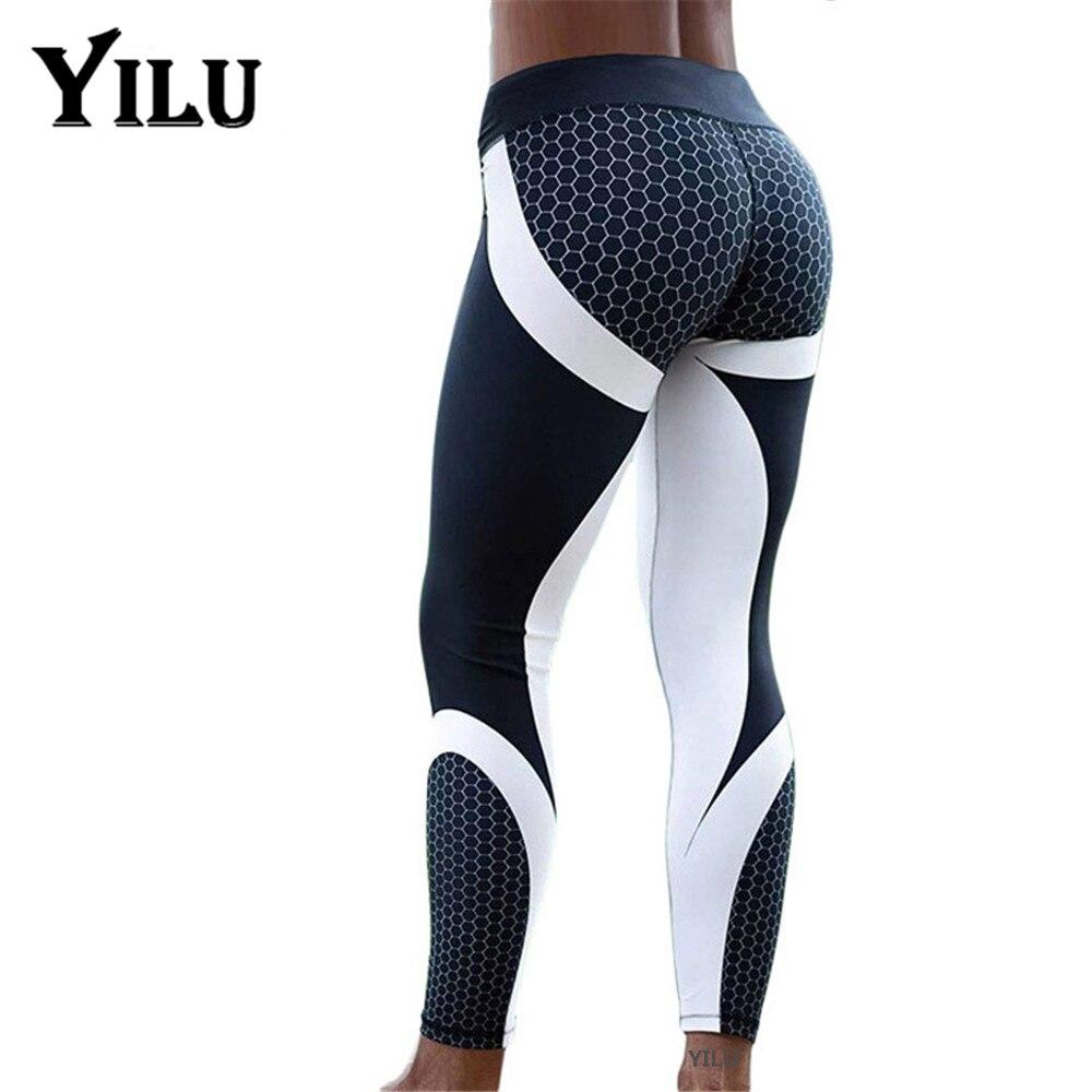 YILU Mesh Pattern Print Leggings Fitness Leggings For Women Sporting Workout Leggins Jogging Elastic Slim Black White Pants(China)