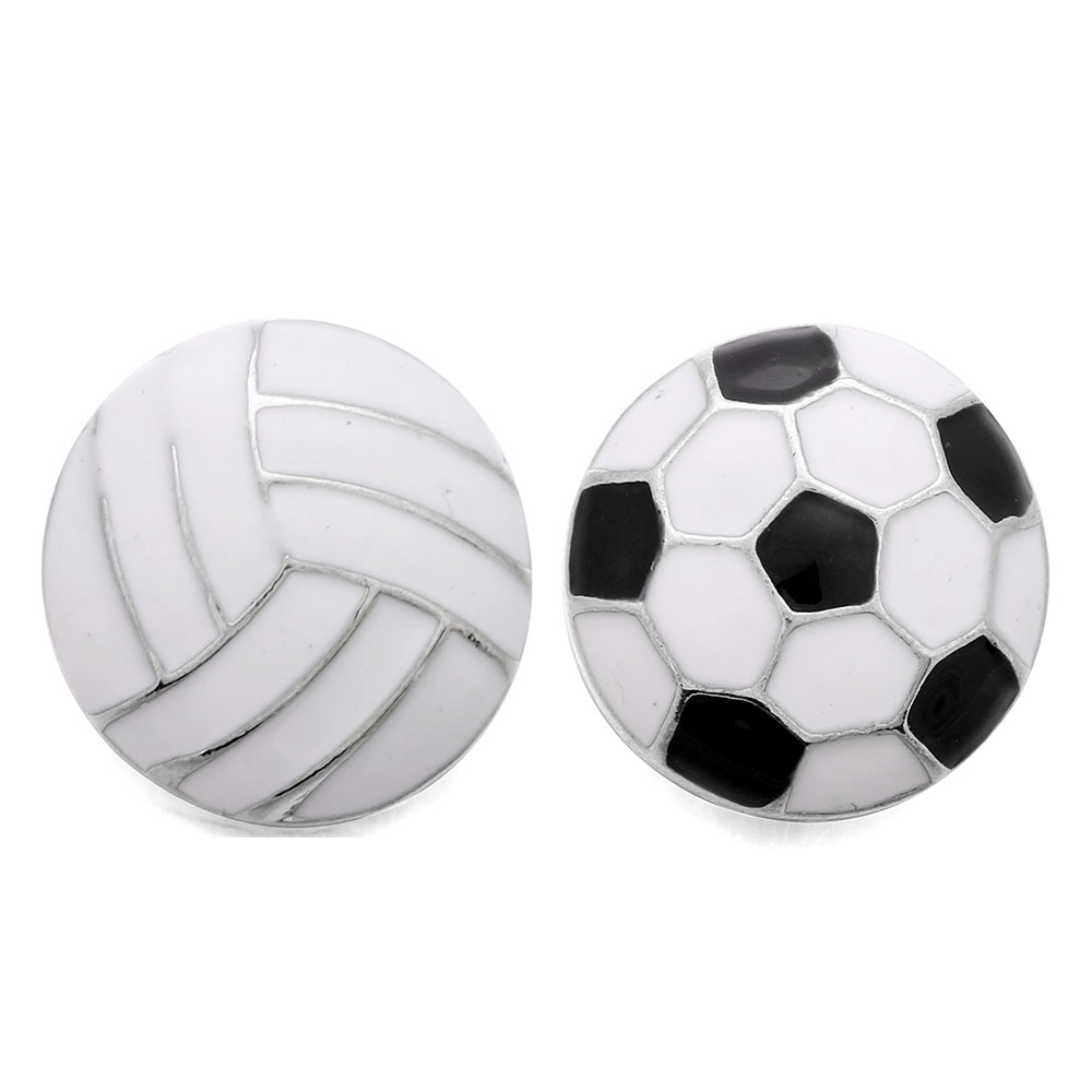 10pcs/lot New Sports Snap Jewelry 18mm Snap Buttons Jewelry Accessories fit Snap Bracelet Bangles Volleyball Football Jewelry soccer-specific stadium