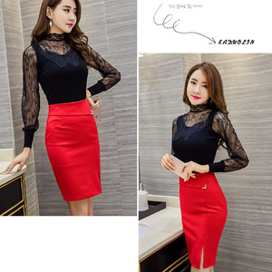 Image 5 - Womens Skirt Hem Cross Fold Sexy Wrap Short Banded Waist Draped New Cut Out Slim Pencil Skirts Jupe For Work OL Lady
