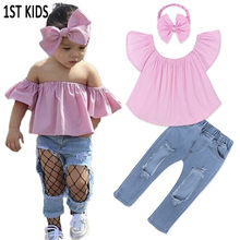 d0cc2b42a09 2018 New 3Pcs New Style Toddler Kids Baby Girls Clothes Off Shoulder Tops  Blouse+Ripped Denim Pants 3pcs Outfits Set DCC012