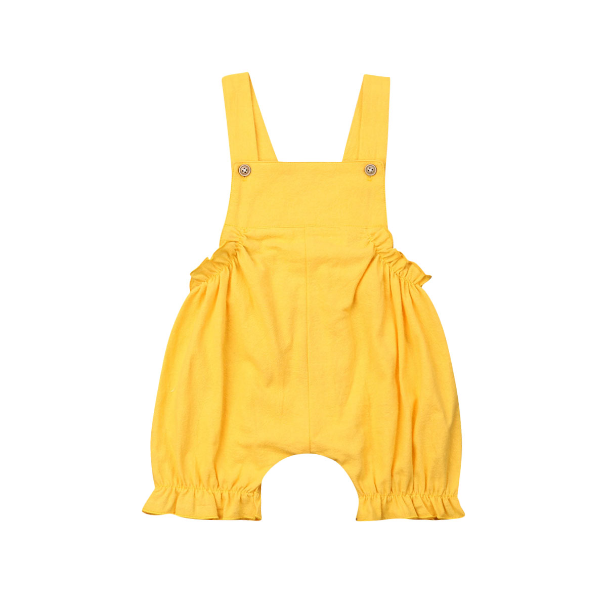 Infant Newborn Sleeveless Yellow Baby Girl Overall Dress Jumpsuit Clothes Summer Playsuit in Rompers from Mother Kids