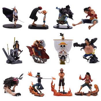 12 Styles Anime One Piece Going Merry Luffy Sabo Ace Jinbe Shanks Chopper Mihawk PVC Action Figure Doll Collectible Model Toy anime one piece figure one of the four kings shanks pvc action figure collection model toy
