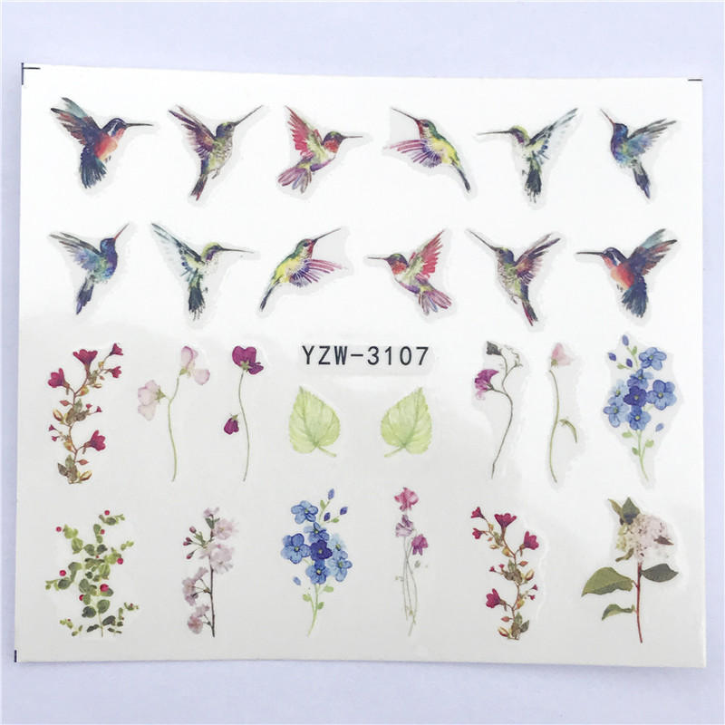 Image 2 - FWC 1 PC Summer Flower Series Nail Water Decals Cute Cat Pattern Tranfer Sticker Flamingo Fruit Nail Art Decoration-in Stickers & Decals from Beauty & Health