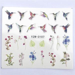 Image 2 - Fwc 1 peça de verão flor série, decalques em água para unhas, padrão gato, adesivo tranfer, flamingo, arte de unha de frutas, decoração