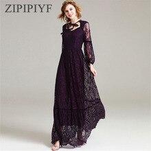 ZIPIPIYF2017 Fashion Runway Maxi Dress Women's elegant Long Sleeve Tulle Gauze Flower Floral Embroidery Black Vintage Long Dress