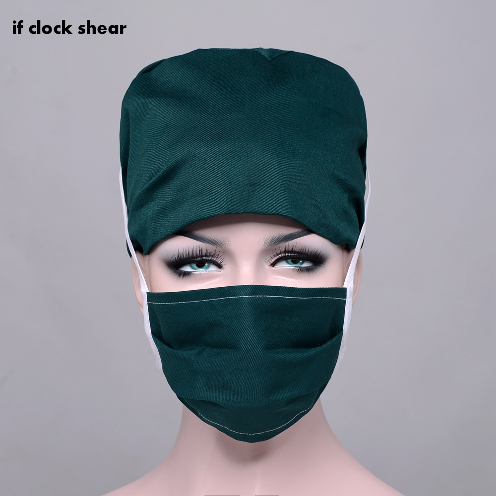 IF Solid Color Pharmacy Nurse Cap Doctor Surgical Hospital Adjustable Medical Surgery Caps Scrub Lab Clinic Dental Doctor Hat