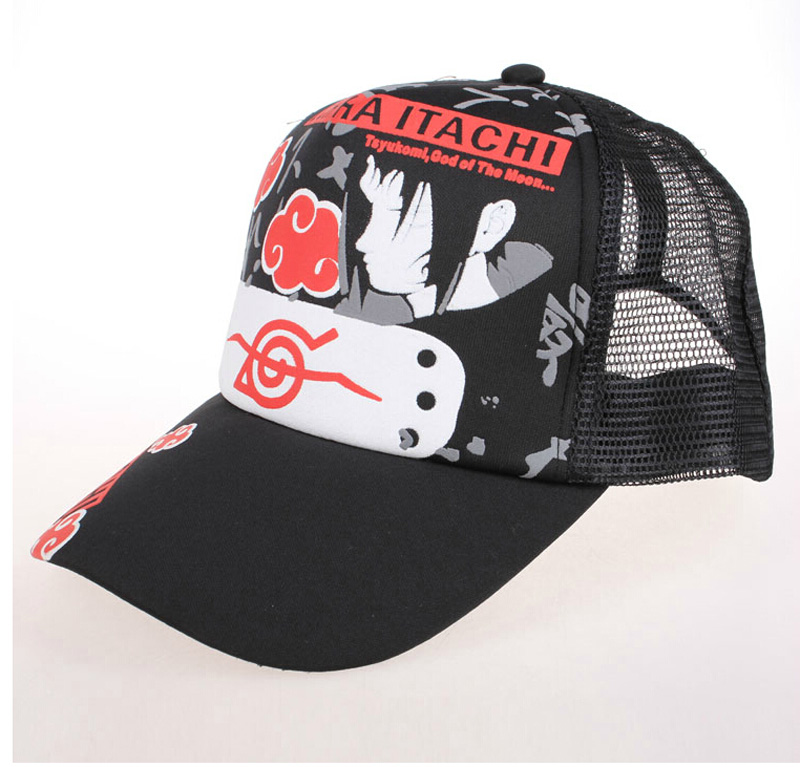 Anime NARUTO With Konoha Mark/Uchiha Itachis Sign Sun Cap Casual Adjustable Summer Mesh Hat for Cosplay Fans