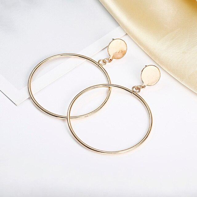بسيطة أنيقة هوب أقراط جولة دائرة الذهبي الفضة اللون شخصية بيان أقراط للنساء Brinco أقراط E0336 5